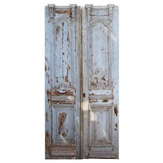 Antique Chippy Paint Door Pair from France, 19th Century