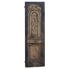 """Reclaimed 30"""" Carved Wood Door with Birds and Hearts, C. 19th Century"""
