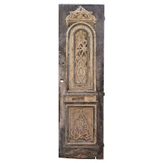 """Salvaged 30"""" Carved Wood Door with Birds and Hearts, C. 19th Century"""