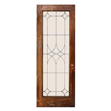 "Reclaimed 30"" Beveled and Leaded Glass Oak Door"