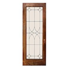 "Reclaimed 30"" Beveled and Leaded Glass Oak Door"