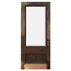 "Salvaged 36"" Oak Door with Beveled Glass"