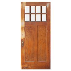 """Reclaimed 36"""" Oak Arts and Crafts Door with Beveled Glass"""