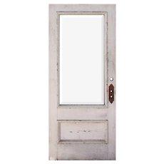 """Reclaimed 36"""" Antique Oak Door with Beveled Glass"""