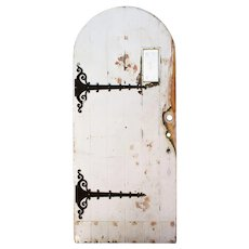"""Salvaged 36"""" Arched Tudor Door with Strap Hinges and Hand Cut Glass"""