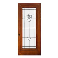 """Salvaged 36"""" Antique Door with Leaded and Beveled Glass"""