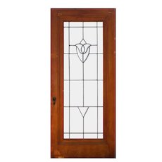 "Salvaged 36"" Antique Door with Leaded and Beveled Glass"