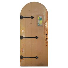 """Reclaimed Antique 36"""" Arched Plank Door with Strap Hinges and Leaded Glass"""
