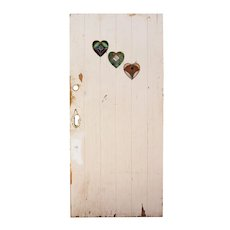 "Salvaged Antique 36"" Plank Door Leaded Glass Heart Windows"