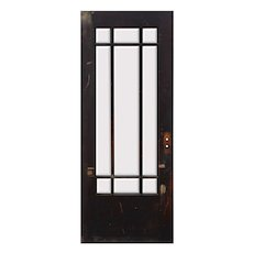 "Salvaged Antique 32"" Prairie Style Door with Beveled Glass"
