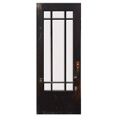 """Salvaged Antique 32"""" Prairie Style Door with Beveled Glass"""