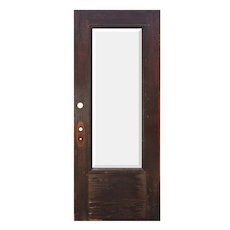 "Salvaged 34"" Antique Oak Door with Beveled Glass, Egg-and-Dart"