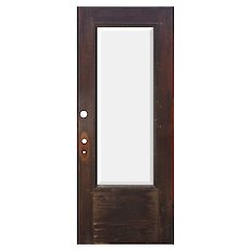 """Salvaged 34"""" Antique Oak Door with Beveled Glass, Egg-and-Dart"""