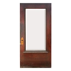 """Salvaged Antique 40"""" Oak Door with Beveled Glass, Egg-and-Dart"""