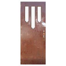 "Salvaged 32"" Antique Arts & Crafts Door with Beveled Glass"