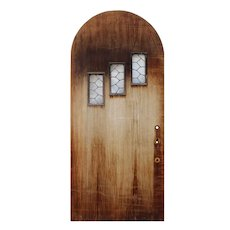 "Salvaged 36"" Arched Door with Leaded Glass Windows"