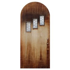 """Salvaged 36"""" Arched Door with Leaded Glass Windows"""