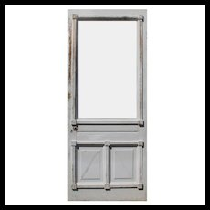 """Salvaged Antique Chippy White 34"""" Eastlake Door, Late 19th Century"""