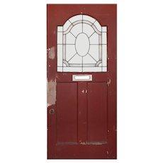 "Salvaged 36"" Door with Leaded Glass Window"
