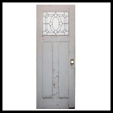 "Salvaged 30"" Door with Leaded and Beveled Glass"