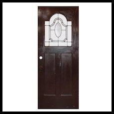 """Reclaimed 32"""" Door with Leaded Glass Window"""
