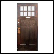 "Reclaimed 36"" Oak Arts and Crafts Door with Beveled Glass"
