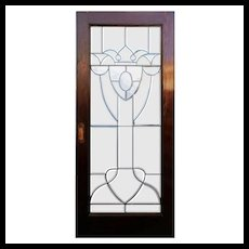 "Reclaimed 36"" Beveled and Leaded Glass Oak Door"