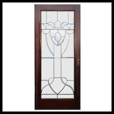 "Salvaged 36"" Beveled and Leaded Glass Oak Door"