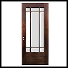"Salvaged 36"" Oak Craftsman Door with Beveled Glass"