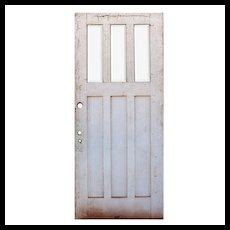 """Reclaimed 36"""" Arts and Crafts Door with Beveled Glass, Oak"""