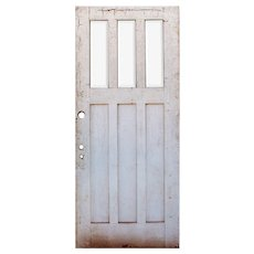 "Reclaimed 36"" Arts and Crafts Door with Beveled Glass, Oak"