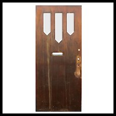"Reclaimed 36"" Antique Arts & Crafts Door with Beveled Glass"