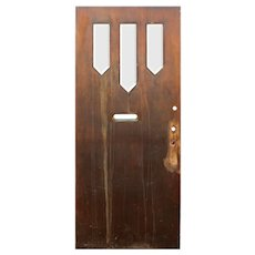 """Reclaimed 36"""" Antique Arts & Crafts Door with Beveled Glass"""