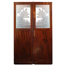 Salvaged Art Deco Door Pair with Acid-Etched Glass