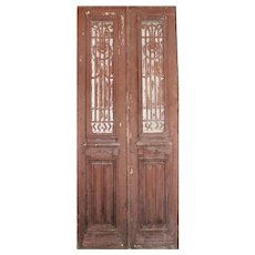 "Salvaged French Colonial Revival 40"" Door Pair, Early 1900s"