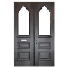 "Antique Salvaged 60"" Double Doors with Gothic Arch Windows"