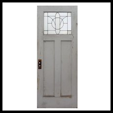 """Salvaged 32"""" Door with Leaded and Beveled Glass Window"""