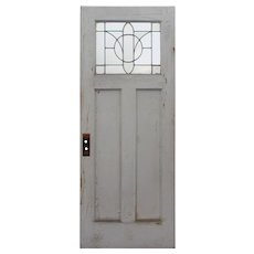 "Salvaged 32"" Door with Leaded and Beveled Glass Window"
