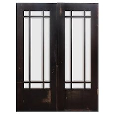 "Salvaged 64""Oak Craftsman Door Pair, Beveled Glass"