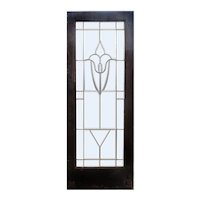 "Antique 30"" Salvaged Door with Leaded and Beveled Glass"
