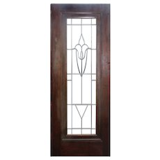 "Antique 31"" Salvaged Door with Leaded and Beveled Glass"