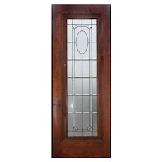 "Antique 31"" Door with Beveled Glass and Hand-Cut Star"