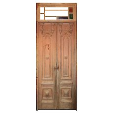"Pair of Antique 42"" Doors with Transom"