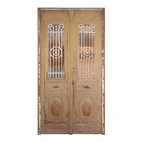 "Reclaimed Pair of Antique French Colonial 54"" Doors with Iron Inserts"