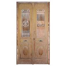 """Reclaimed Pair of Antique French Colonial 54"""" Doors with Iron Inserts"""
