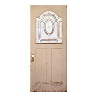 """Reclaimed 34"""" Door with Leaded Glass Window"""