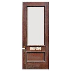 """Salvaged 38"""" Oak Door with Glass"""