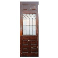 "Salvaged 30"" Door with Leaded and Ribbed Glass, Oak"