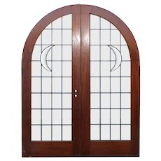 """Reclaimed 60"""" Arched Door Pair with Leaded Glass"""