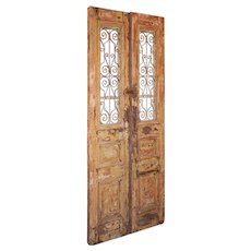 """Salvaged Pair of 44"""" Antique French Colonial Doors with Iron Inserts"""